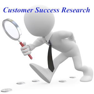 Walking man with magnifying glass, text: Customer Success Research