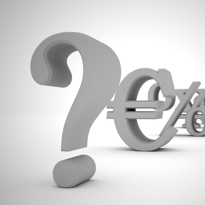 Question mark and money symbols